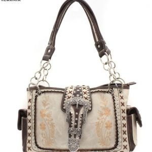Western Shoulder Bag and Conceal Carry Purse Beige