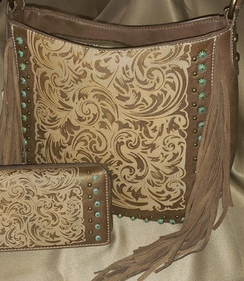 Western Embossed Conceal Carry Handbag front view (Montana West)