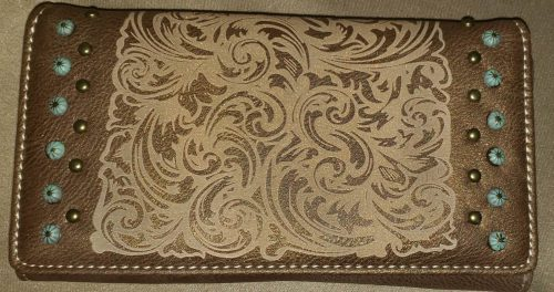Western style Embossed Wallet Brown and Tan Front view