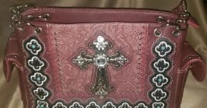 Western Rhinestone Conceal Carry Handbag with Cross Red
